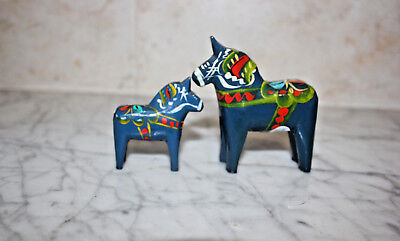 2 Original Dala Horses blue From Sweden.3 inch & 2 inch