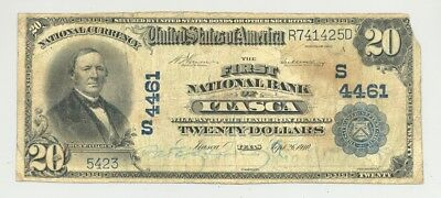 $20 Series 1902 Plain Back Itasca, Texas National Banknote rare Hill County bank