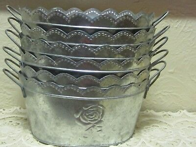 NEW! Lot Of 6 Vtg.Rustic Primitive Style Rose Embossed Wedding Decor Tin Buckets
