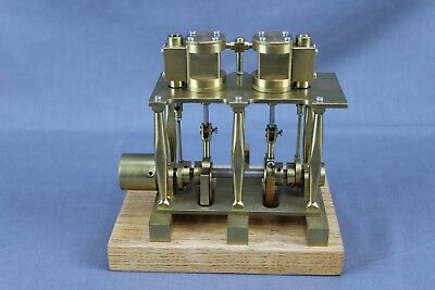Nicely Built 2 Cylinder Brass Steam Engine Very Nice Clean Engine