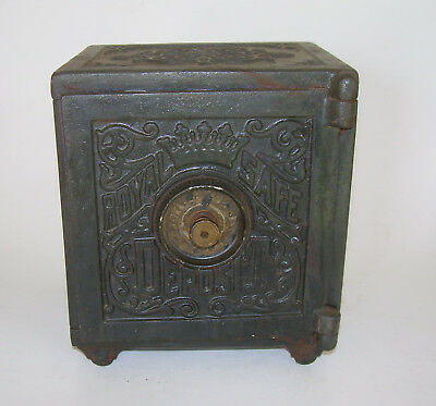 Antique Cast Iron Still Bank ROYAL SAFE DEPOSIT Old Toy Vintage Metal Penny Bank