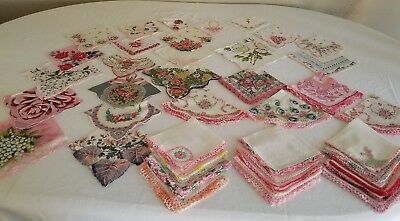 Lot of 42 Vintage Reds & Pinks Lace Floral & Embroidered Handkerchiefs Hankies