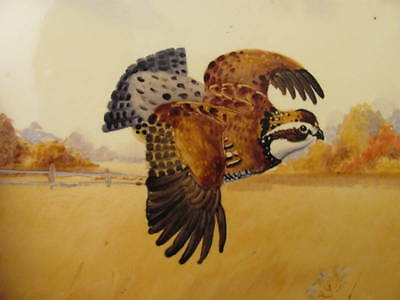 Excellent Vintage Hand Painted Wheeling Tile Grouse Bird