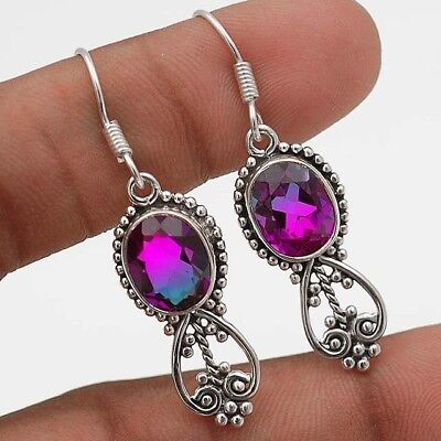 """4CT Double Color Tourmaline Quartz 925 Sterling Silver Earrings Jewelry 1 2/3"""""""