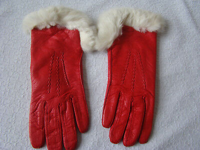 Red Leather Look Gloves With White Fur Tops  Size 6 1/2