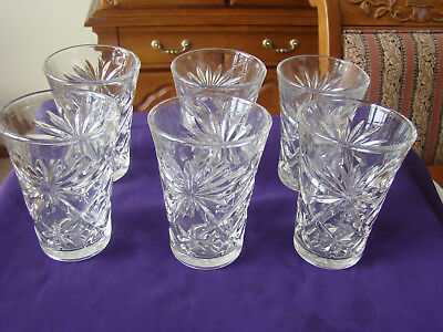 Anchor Hocking Early American Prescut Oatmeal Crystal Flared Tumblers Set Of 6