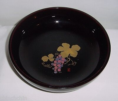 EXQUISITE Chop SIGNED Lacquer WOOD Bowl JAPANESE HP Grapes FINE Wine LOVERS GIFT