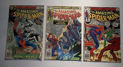 Lot of 3 The Amazing Spider-Man #190,191,192 VF Marvel Comic Book Man-Wolf