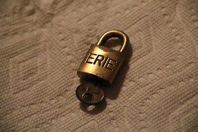 Antique Obsolete Erie Brass Lock, Very Small, With Key, Works Good