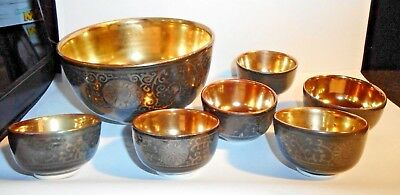 1930's Hand Painted Signed Kutani Porcelain Nut Bowl Set 7 Pieces Silver & Gold
