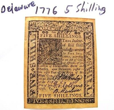 1776 5 Shillings Delaware Colonial Currency ' historical copy' ?!