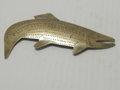 Large Haida Nw Coast Indian German Silver Salmon Pin - Uniq Gift - Nr !