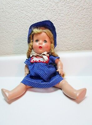 "Vintage Horsman Doll 13"" Composition Girl Rapunzel Pigtails Dress Bonnet Jo Jo"