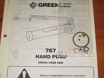 Greenlee 767 Hydraulic Hand Pump seal kit #04343