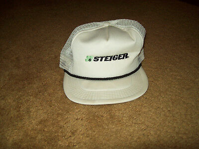 Original Steiger Tractor White Cloth Hat Cap Fargo North Dakota