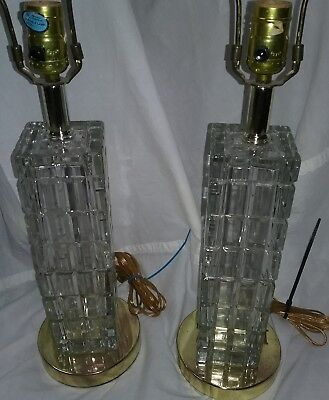 Vintage Pair Of Crystal Cube Lamps Made In Portugal Art Deco
