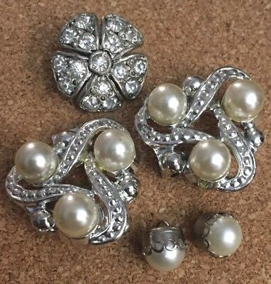 Vintage Rhinestone Pearl Art Deco Buttons jewelry Bridal Crafting Lot 5pcs