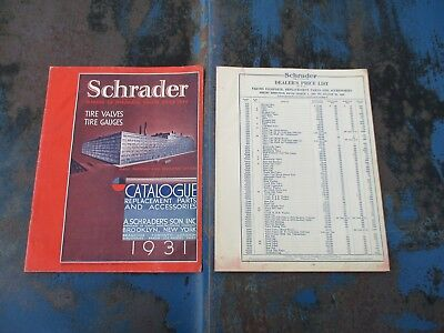 Rare Original Antique 1931 Schrader Tire Valves Gauges Catalogue T A Model Era