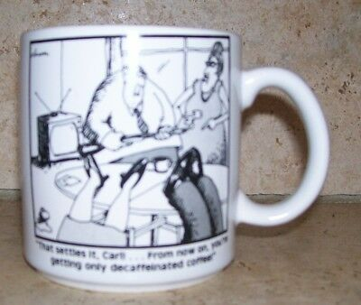 "The Far Side Coffee Cup Mug ""Only Decaffeinated"" 1980 Gary Larson"