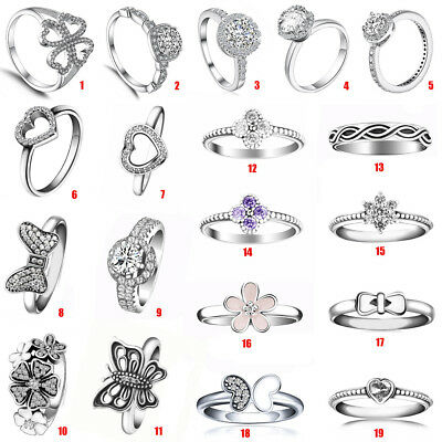 Fashion Women 925 Silver CZ Ring Wedding Engagement Jewelry Zircon Heart Ring