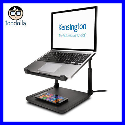 KENSINGTON SmartFit Laptop Riser Stand and Qi Wireless Charging Pad, iPhone