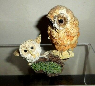 Owl Mom Baby Figurine Learning to Fly Russell Willis Nesting Instincts FREE SHIP