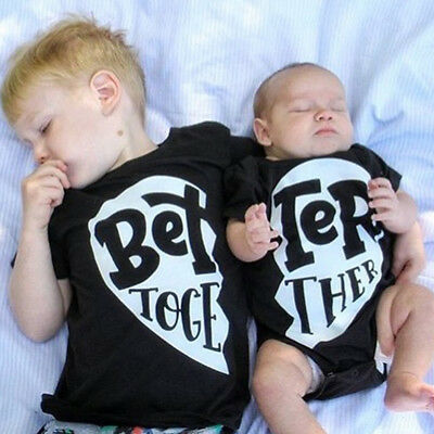 Better Together Cotton Clothes Brother Sister T-shirt Top Matching Romper Outfit