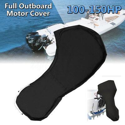 600D Black Boat Full Outboard Engine Cover Fit For 100 To 150HP Motor Waterproof