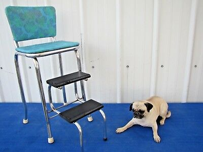 Vintage 1950's Kitchen Folding Step Stool Mid Century Chrome Bar Chair