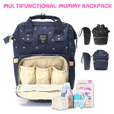 Multifuntional Mummy Nappy Diaper Bag Baby Travel Changing Nursing Backpack