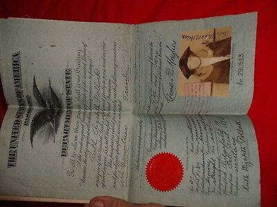 Vintage 1923 US Passport book signed by Charles Hughes Supreme Court Justice