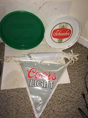 Vintage 80s Rolling Rock Tray,Schaefer,Coors Light,Extra Gold Draft Beer Mirror
