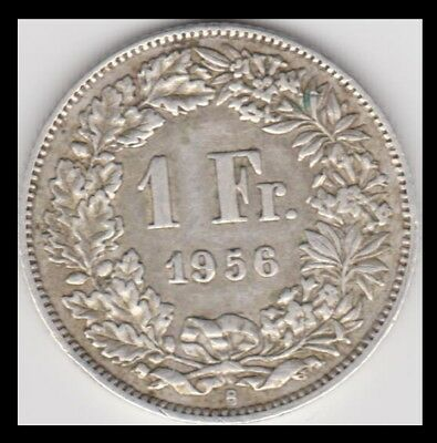 1956-B Switzerland ~ One Franc Silver Coin ~ km24 ~ See Scans and Grade Yourself