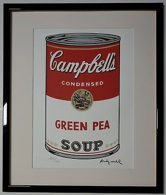 """Andy Warhol Campbell's soup """"Green Pea"""" Signed Lithograph Lim. 1810/2400 pcs."""