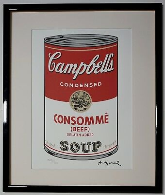 """Andy Warhol Campbell's soup """"Consommé"""" Signed Lithograph Lim. 1810/2400 pcs."""