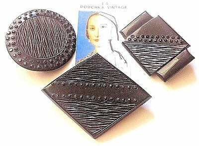 FRENCH 1920s ART DECO BROOCHES~LOT OF 3~BLACK CELLULOID~GLASS BEADS~NOS VINTAGE