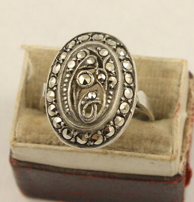 Vintage Art Deco circa 1930's sterling silver marcasite ring
