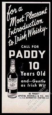 1959 Paddy Irish Whiskey bottle art vintage print ad
