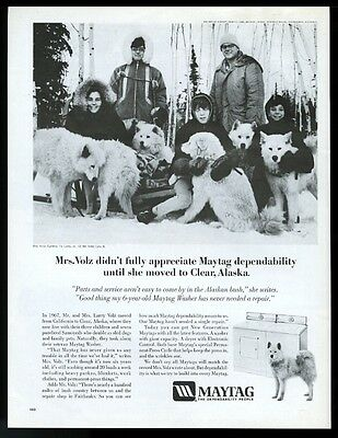 1970 Samoyed dog sled team photo Maytag washer dryer vintage print ad