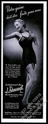 1940 sexy woman photo J. Roussel lingerie French vintage print ad