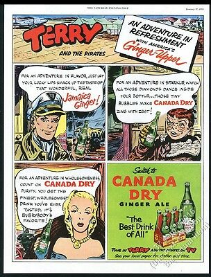 1953 Terry and the Pirates color art Canada Dry Ginger Ale vintage print ad