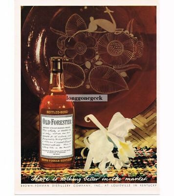 1944 OLD FORESTER Bourbon Whiskey Flower Fancy Dinner Plate Vtg Print Ad