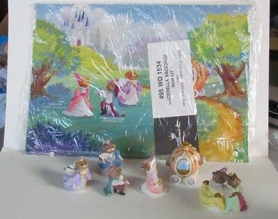 Vintage Hallmark Merry Miniatures 6 Piece Cinderella Lot, Mint, Plus Backdrop