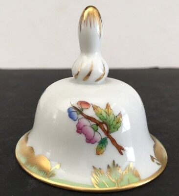 Vintage Herend Porcelain Dinner BELL Green QUEEN VICTORIA with Butterfly
