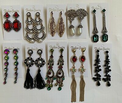 Wholesale Lot of 10 Pairs of Statement Earrings Rhinestone  New #13