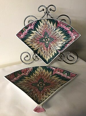 Set of 2 Fan Shaped Dishes Qianlong Red Seal Mark Chinese