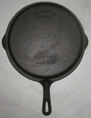 Vtg #9 B Wagner Ware 11 Inch Cast Iron Grill Skillet-Made In Usa-Seasoned