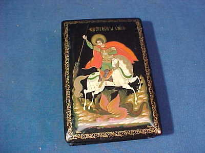 Vintage RUSSIAN Black Lacquer BOX w ST GEORGE SLAYING a DRAGON SCENE On Lid