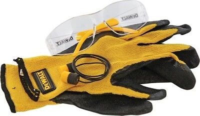 Dewalt DWDPG70 Black/Yellow Safety Set (Ear Plugs, Glasses, & Gripper Gloves)