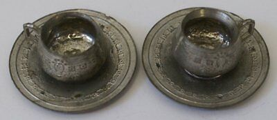 Early Pair of Antique Victorian French Pewter Doll House Cups and Saucers (G15S)